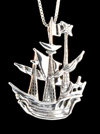 Pirate Ship Pendant - Silver
