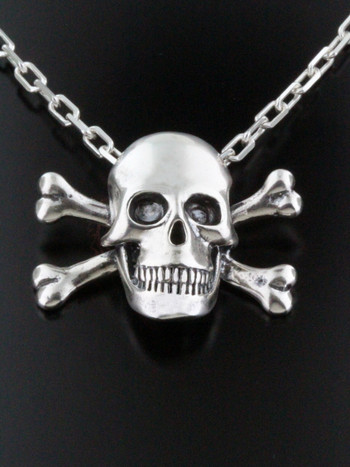 Pirate - Large Skull and Crossbone Pendant - Silver
