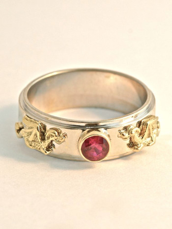 Gold Eternity Dragon Band with Sapphire - 14k Gold