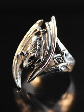 Gothic Bat Ring, sterling silver