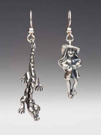 Classic Peter Pan - Captain Hook & Crocodile Earring Set - Silver