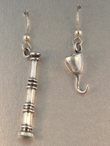 Pirate - Spyglass and Hook Earring Set - Silver