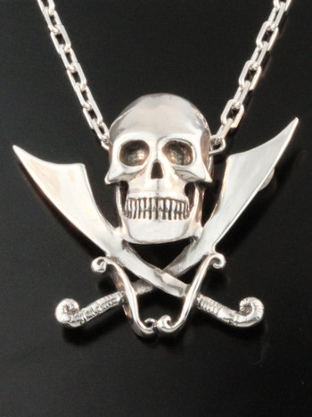 Skull and Crossed Cutlass Pendant with Anchor Chain