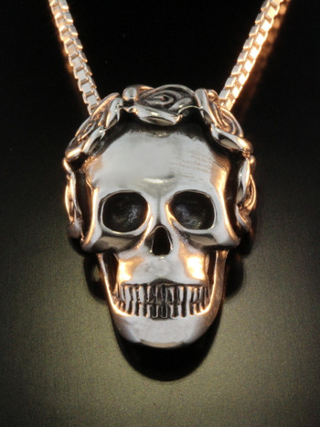 Skull and Rose Pendant - Silver