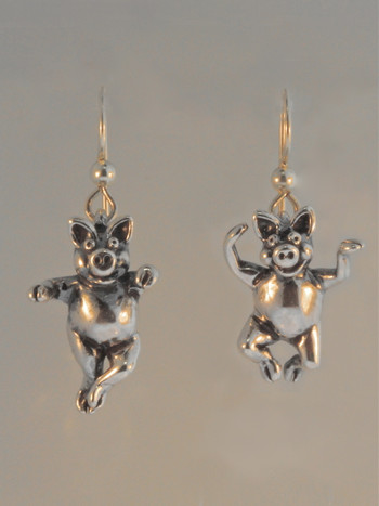 Three Little Pigs - Dancing Pig Earrings - Silver