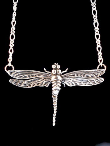 Metamorphosis Large Dragonfly Pendant in Silver