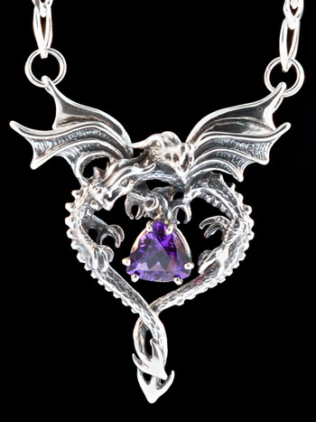 Dragon Heart Pendant with Amethyst