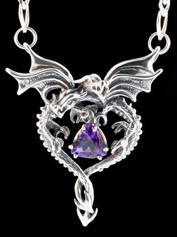 Dragon Heart Pendant with Amethyst