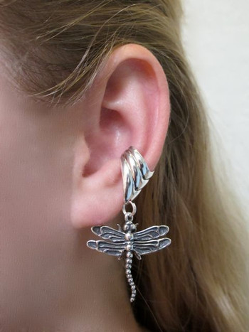 Dragonfly Ear Cuff Chevron - Silver