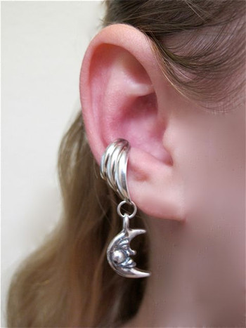Moon Ear Cuff Chevron - Silver