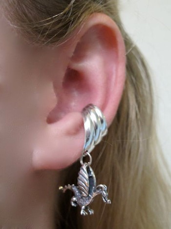 Baby Dragon Ear Cuff Chevron - Silver