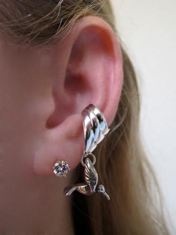 Small Hummingbird Ear Cuff Chevron - Silver