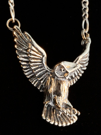 Large Owl Pendant in Silver