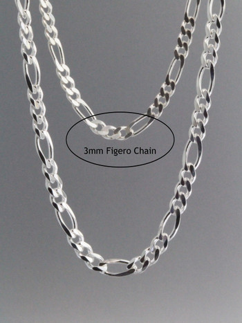 Figero Chain 3mm  Sterling Silver