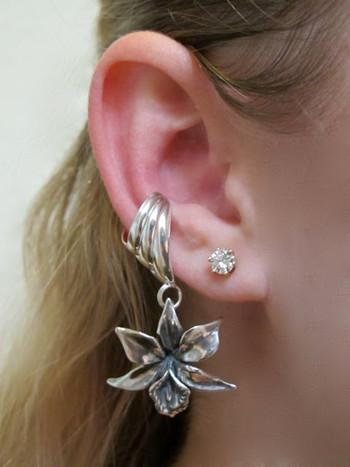 Orchid Ear Cuff Chevron - Silver