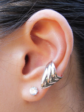 Basic Ear Cuff Chevron Silver