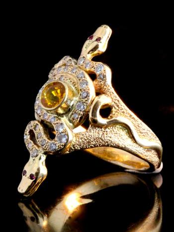 14K Gold Alpha Omega Snake Ring
