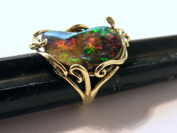Fire Pool Boulder Opal Ring - SOLD