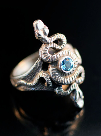 Alpha Omega Snake Ring with Blue Topaz