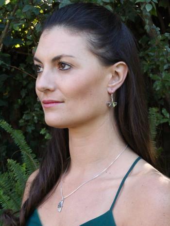 966dec582 ... Model is wearing Gingko Leaf Earrings & Japanese Fan Charm