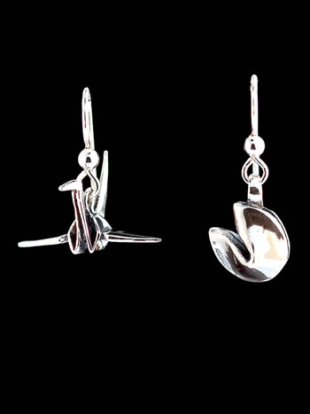 Peace Crane and Fortune Cookie Earrings - Silver