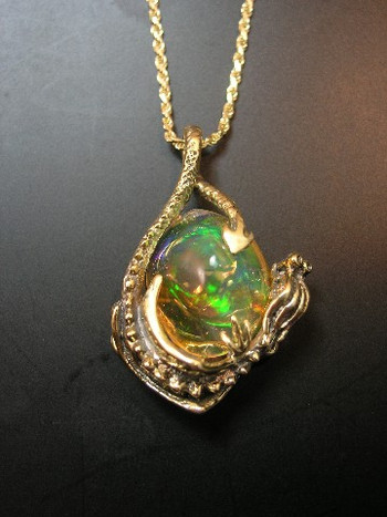 Rainfire Dragon Pendant with Mexican Fire Opal - SOLD