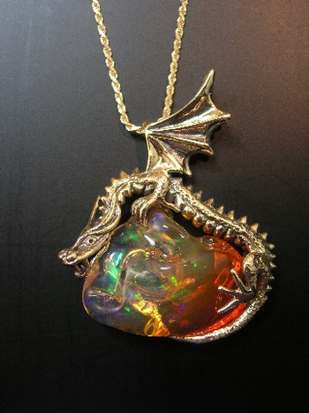 Sunrise Dragon Pendant with Mexican Fire Opal - SOLD