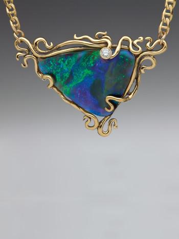 Ocean Reef- Opal & Diamond Pendant - 18K Gold