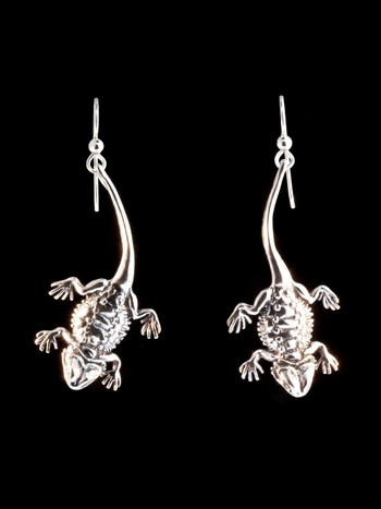 Bearded Dragon Lizard Earrings - Silver