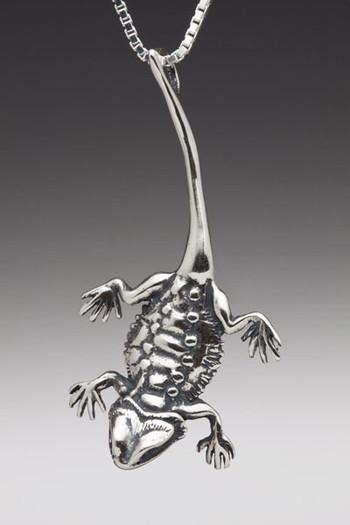 Bearded Dragon Lizard Charm in Silver