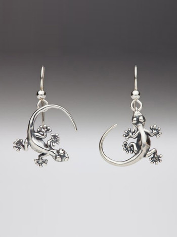 Gecko Earrings in Silver