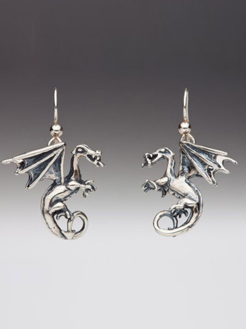 Fire Dragon Earrings - Silver