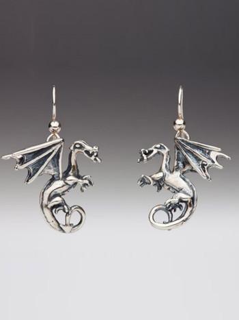 Fire Dragon Earrings - Silver
