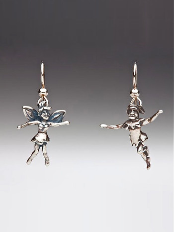 Classic Peter Pan - Peter Pan and Tinkerbell Earrings - Siver