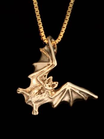14k Gold Bat Flight Charm