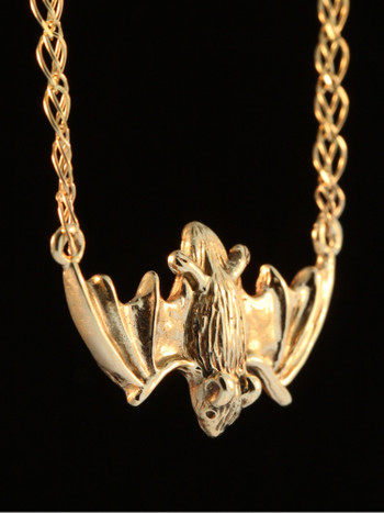 Gold Flying Bat Pendant - 14k Gold