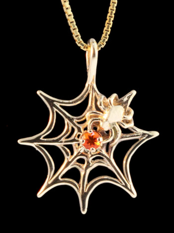 Gold Spider Web Pendant with Fire Opal - 14k Gold
