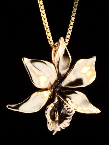 Gold Orchid Charm - 14k Gold