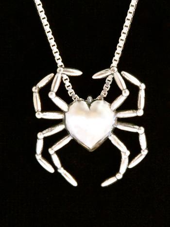 Spider Heart Pendant - Silver