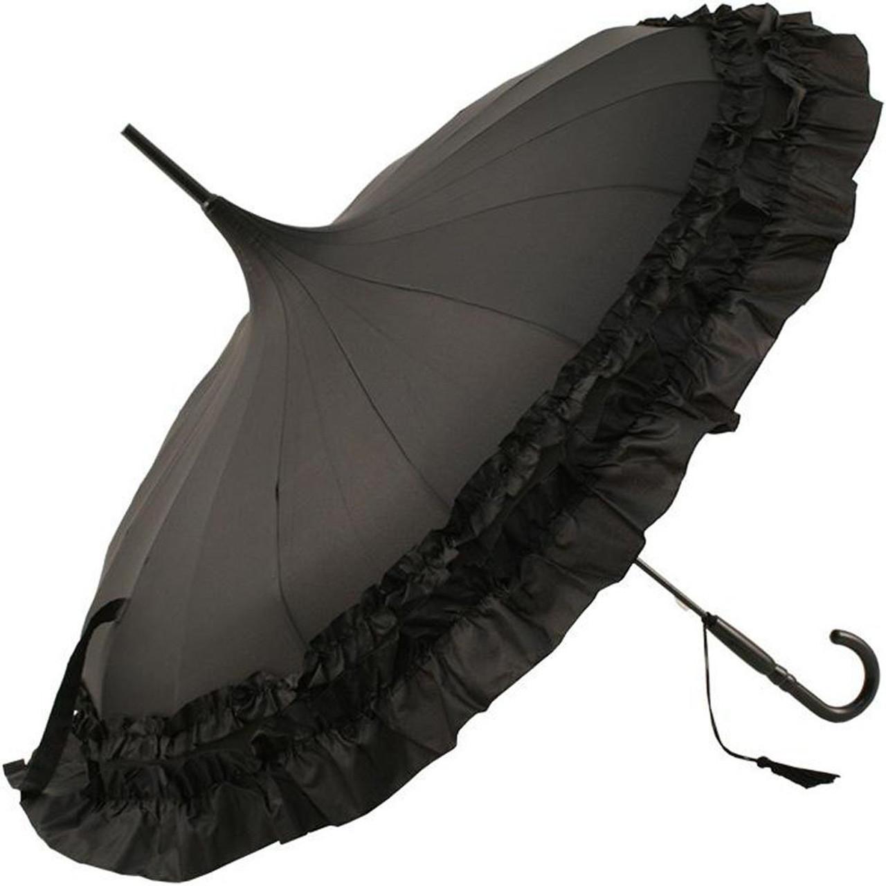 b47d514d9 Soake Stunning Classic Plain Frilled Edge Pagoda Style Long Umbrella Black  - umbrellasuperstore.co.uk