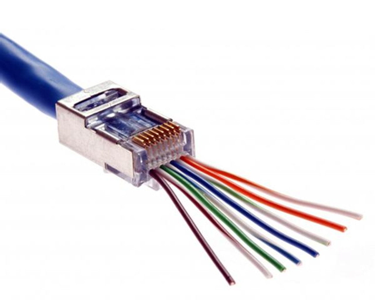 Quick Install RJ45 Shielded CAT5E Connector - Feed Through Wires - on