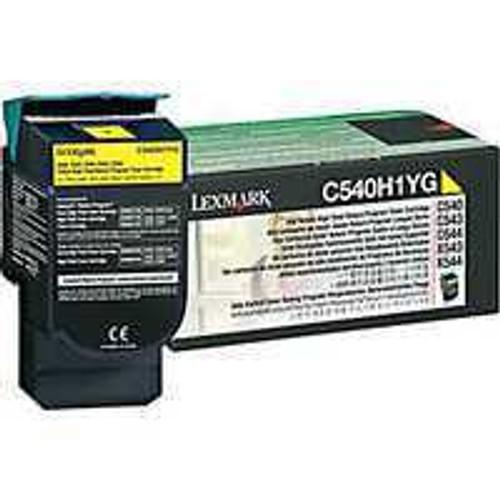 Genuine Lexmark C540H1YG Yellow High Yield Toner Cartridge for C540, C543, C544, C546, X543, X544, X548 [2,000 Pages]