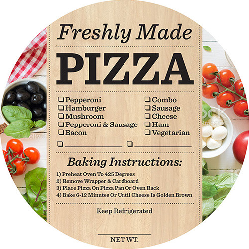 """4.625""""  Freshly Made Pizza Checkoff Label 
