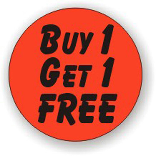 """1.25"""" Circle - 1000 per roll. Buy 1 Get 1 Free Bullseye on fluorescent red."""