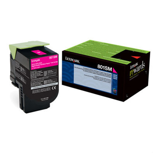Genuine Lexmark 801SM Magenta Toner Cartridge for CX310, CX410, CX510 [2,000 Pages]