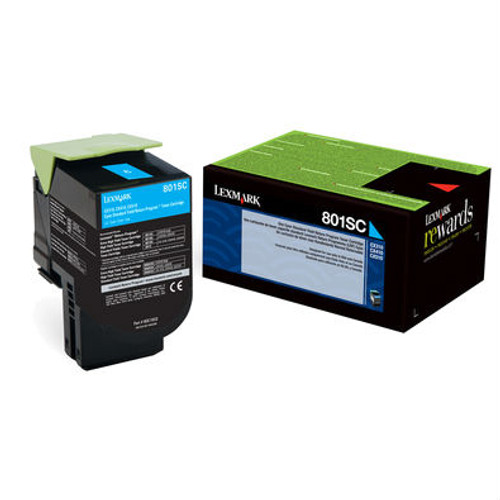 Genuine Lexmark 801SC Cyan Toner Cartridge for CX310, CX410, CX510 [2,000 Pages]