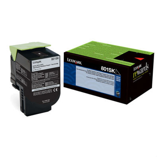Genuine Lexmark 801SK Black Toner Cartridge for CX310, CX410, CX510 [2,500 Pages]