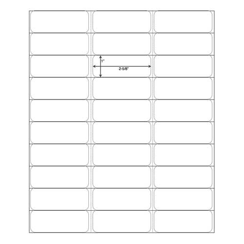 "White Address Labels for Laser Printers 1"" X 2-5/8"", Bulk Case of 30000"