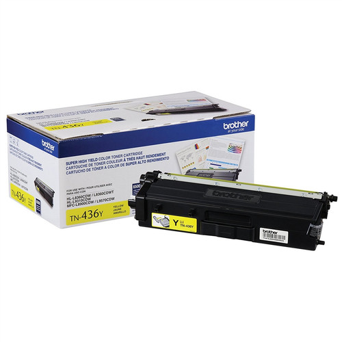 OEM Brother TN-436Y Yellow Super High Yield Toner Cartridge for HL-L8360, HL-L9310, MFC-L8900, MFC-L9570 [6,500 Pages]