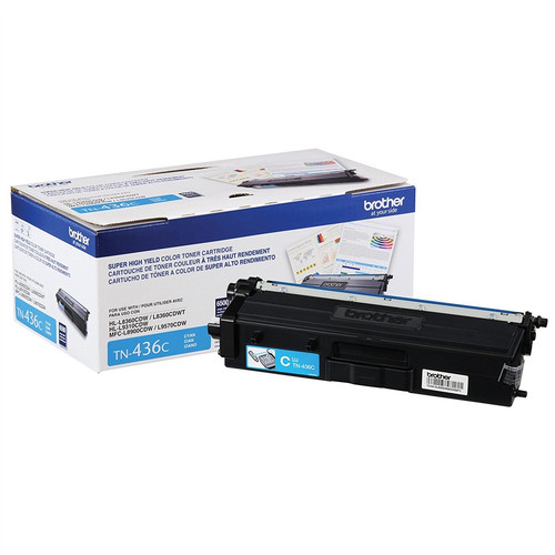 OEM Brother TN-436C Cyan Super High Yield Toner Cartridge for HL-L8360, HL-L9310, MFC-L8900, MFC-L9570 [6,500 Pages]